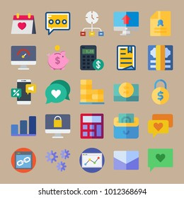icon set about Marketing with dollar, settings, agreement, padlock and browser