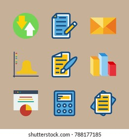 icon set about marketing with exam, analytical and file
