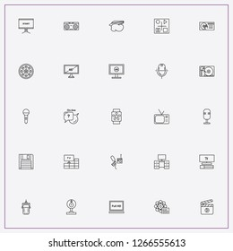 icon set about media with keywords worldwide news, microphone and television