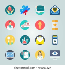 Icon set about Medical. with heart, device and medical notes