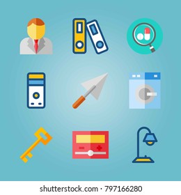 Icon set about Real Assets. with archive, washing machine and businessman