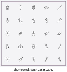 icon set about tools with keywords pliers, caries of tooth and baby bucket with shovel