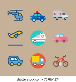 icon set about transport with airplane, car and police car