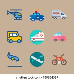 icon set about transport with ambulance, car and truck