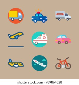 icon set about transport with ambulance, delivery truck and aircraft
