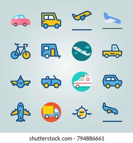 Icon set about Transport. with autotruck, delivery truck and front side