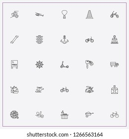 icon set about transport with  bicycle toy, anchor and rowing paddle