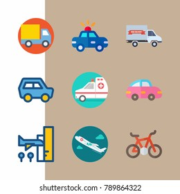 icon set about transport with car, ambulance and pink car