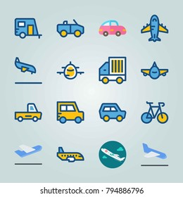 Icon set about Transport. with front side, cabriolet and medical airplane
