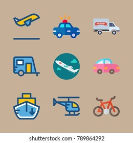 icon set about transport with medical airplane, helicopter and bicycle