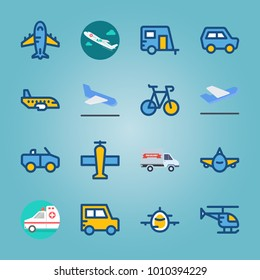 icon set about Transport with plane, offroad, jet, aeroplane and truck