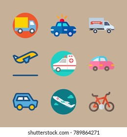 icon set about transport with police car, truck and mini car