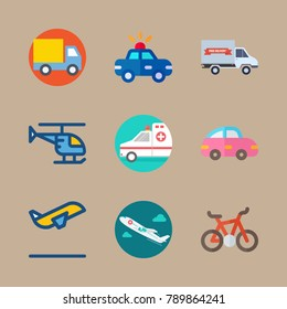icon set about transport with truck, delivery truck and bicycle