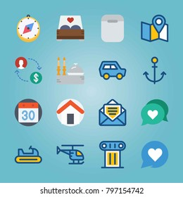 Icon set about Travel. with home, chat and email