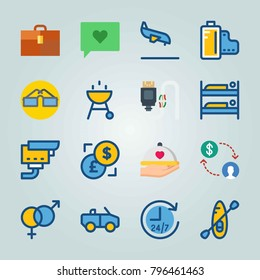 Icon set about Travel. with usb, chat and bunk bed