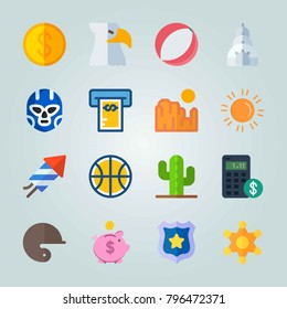 Icon set about United States. with sun, money and beach ball