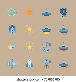 icon set about universe with alien, ufo and shooting star