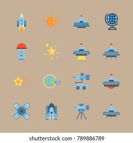 icon set about universe with alien, sun and satellite