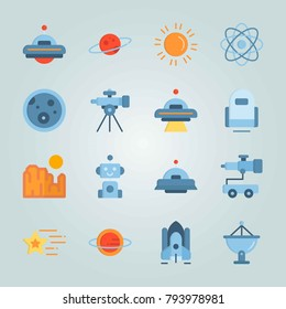 Icon set about Universe. with alien, spacecraft and robot car