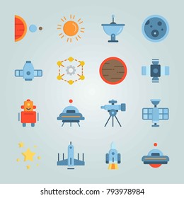 Icon set about Universe. with craft, earth and mars