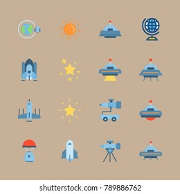 icon set about universe with earth, space capsule and space craft