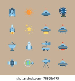 icon set about universe with earth, alien and orbit