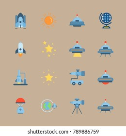 icon set about universe with globus, orbit and star