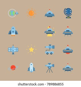 icon set about universe with globus, telescope and alien