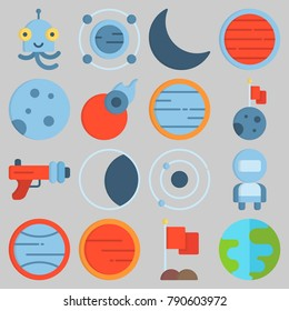 Icon set about Universe with keywords astronaut, mars, alien, flag, earth and moon