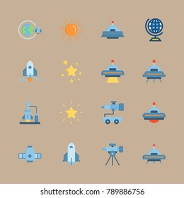 icon set about universe with orbit, ufo and stars