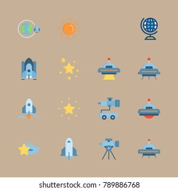 icon set about universe with orbit, shooting star and spacecraft