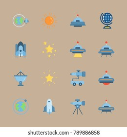 icon set about universe with orbit, earth and globus
