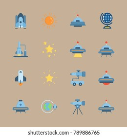 icon set about universe with planet earth, alien and star