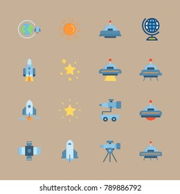 icon set about universe with planet earth, star and telescope
