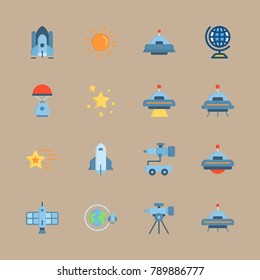icon set about universe with space craft, planet earth and orbit