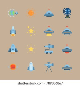 icon set about universe with space craft, planet and globus