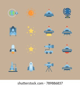 icon set about universe with telescope car, earth and ufo