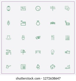 icon set about vintage with keywords mail box, map and street singboard