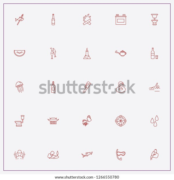 Icon Set About Water Keywords Hammer Stock Vector (Royalty