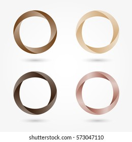Icon set abstract business logo. Corporate, media, technology, style templates vector logo design. Volume shapes of brown, beige, chocolate color thin circles.