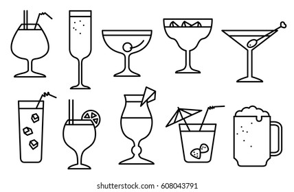 Icon set with alcohol cocktails. Thin simple line style collection with drinks, juice and decorations in glasses with fruits. Vector illustration for beach summer party, cocktail designs, beer