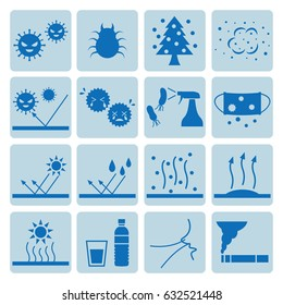 Icon set of allergy, fungus, humidity, temperature.