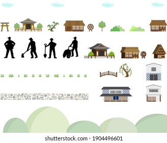 icon set of ancient buildings and farmers