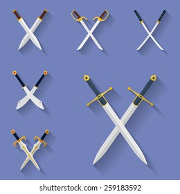 Icon set of ancient swords.