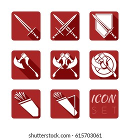 Icon set of armor in vector. RPG and MMORPG game. EPS 8.