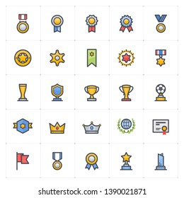 Icon set - awards and trophy full color icon style vector illustration on white background
