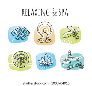Icon set of ayurveda spa symbols of yoga, herbs and plants. Hand drawn cartoon sketch vector illustration, marker style coloring on tiles.