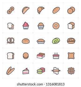 Icon set – bakery and bread full color vector illustration on white background