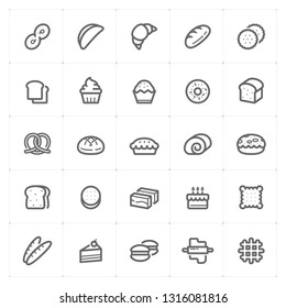 Icon set – bakery and bread outline stroke vector illustration on white background