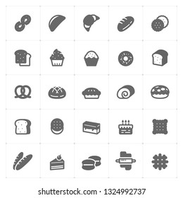 Icon set - bakery and bread vector illustration on white background